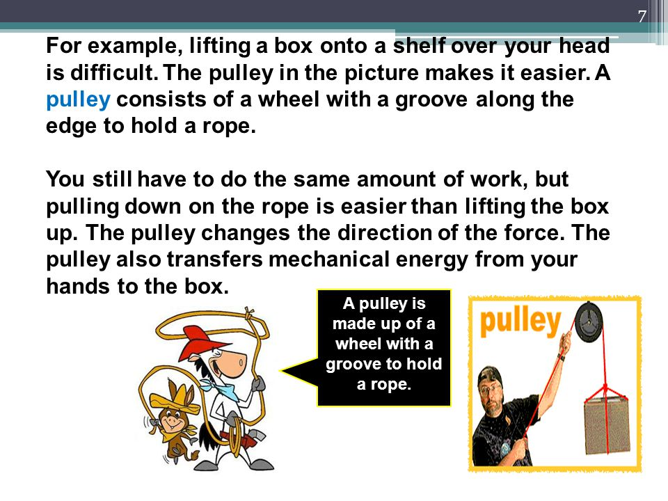 A pulley is made up of a wheel with a groove to hold a rope.