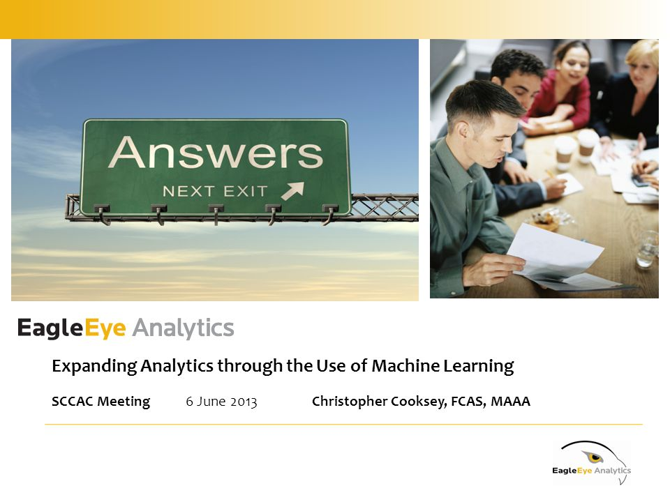 Expanding Analytics through the Use of Machine Learning SCCAC Meeting