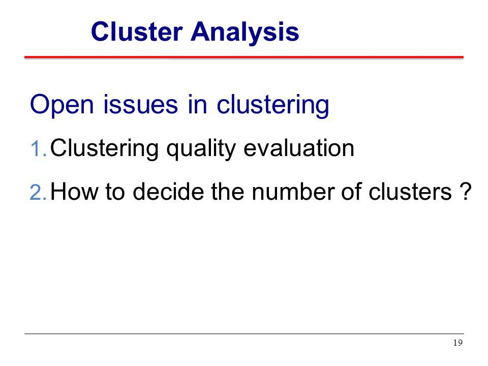 Open issues in clustering