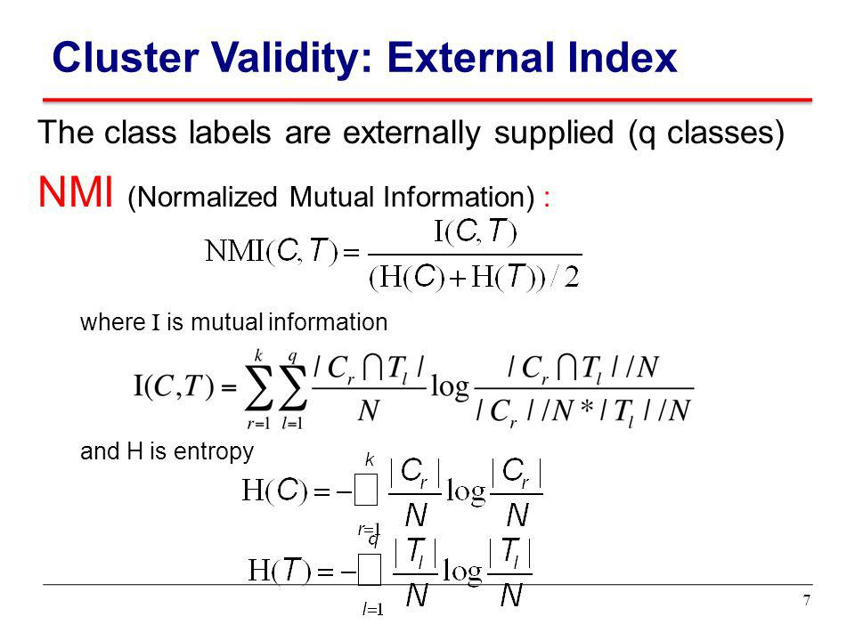 Cluster Validity: External Index
