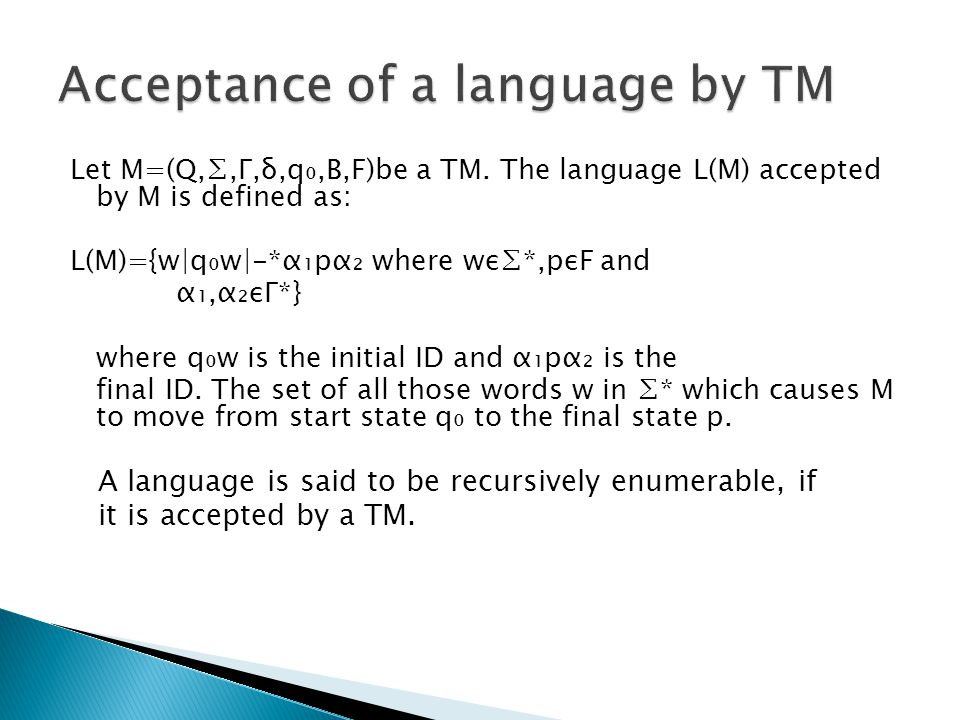 Acceptance of a language by TM