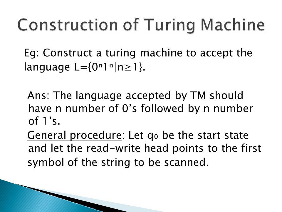 Construction of Turing Machine