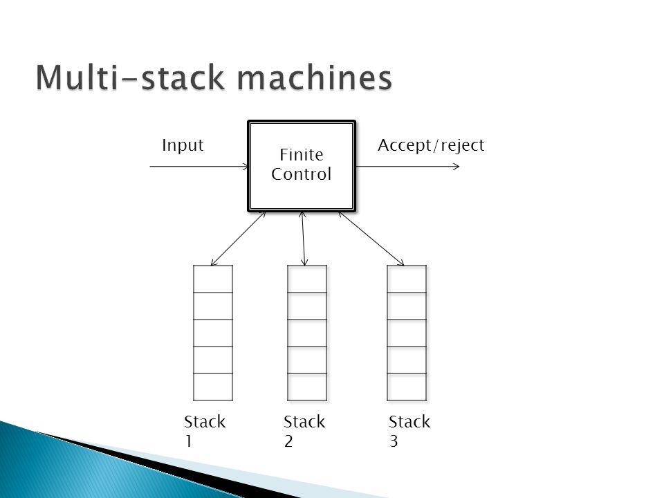 Multi-stack machines Finite Control Input Accept/reject Stack 1