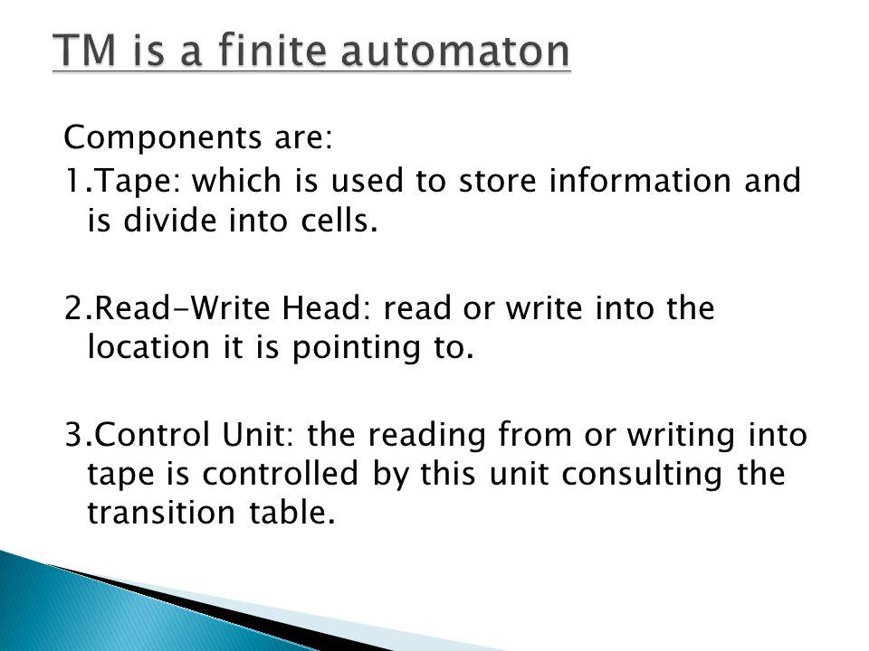 TM is a finite automaton