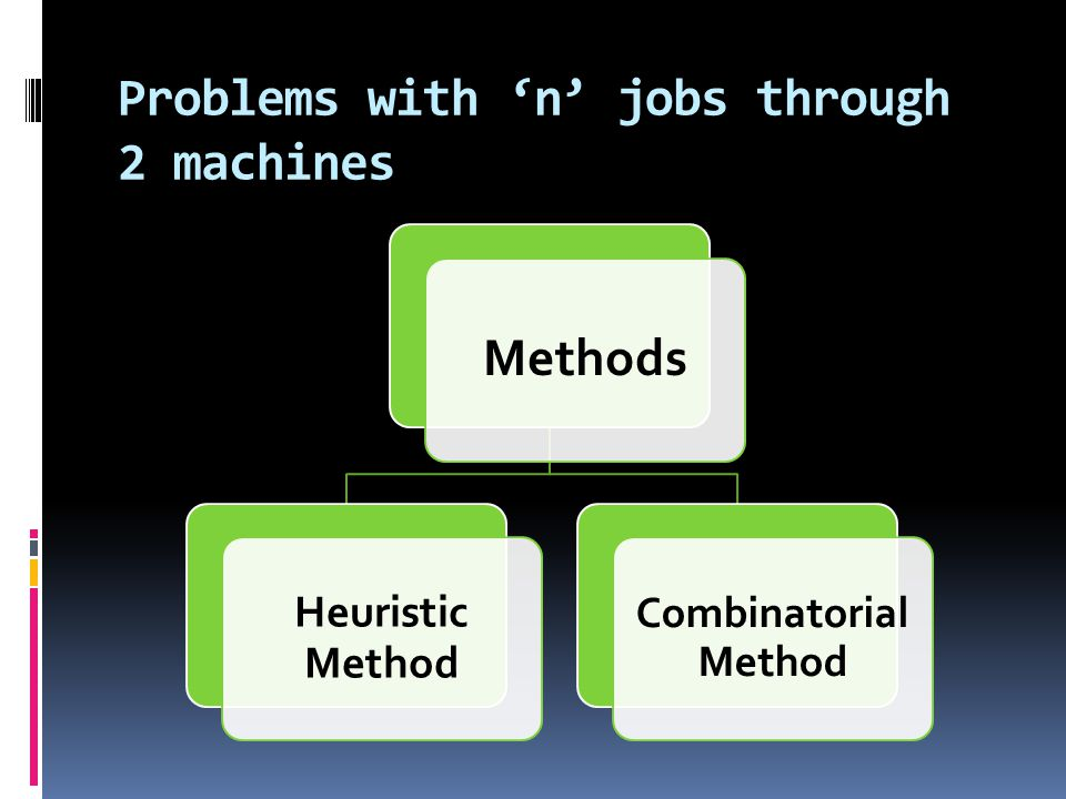 Problems with 'n' jobs through 2 machines