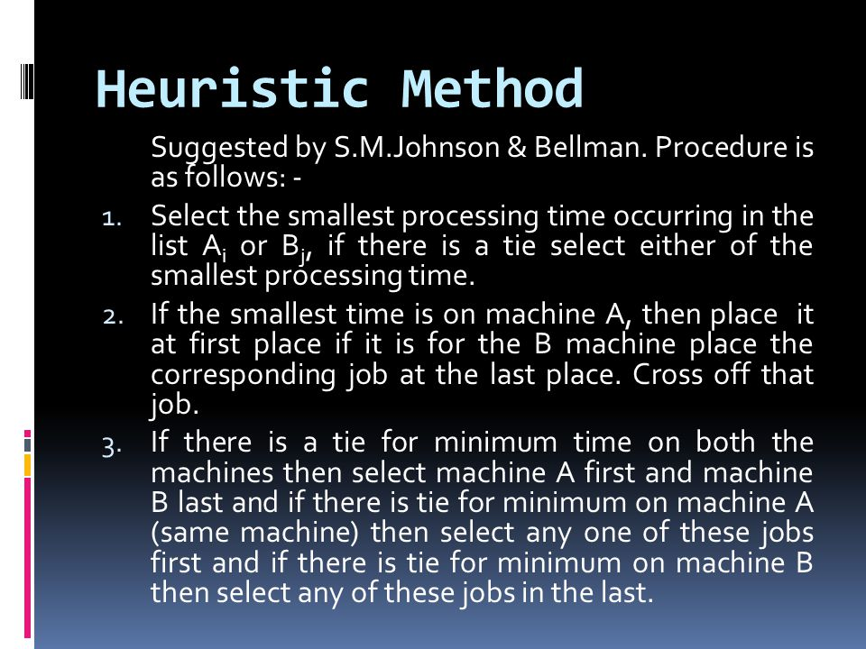 Heuristic Method Suggested by S.M.Johnson & Bellman. Procedure is as follows: -