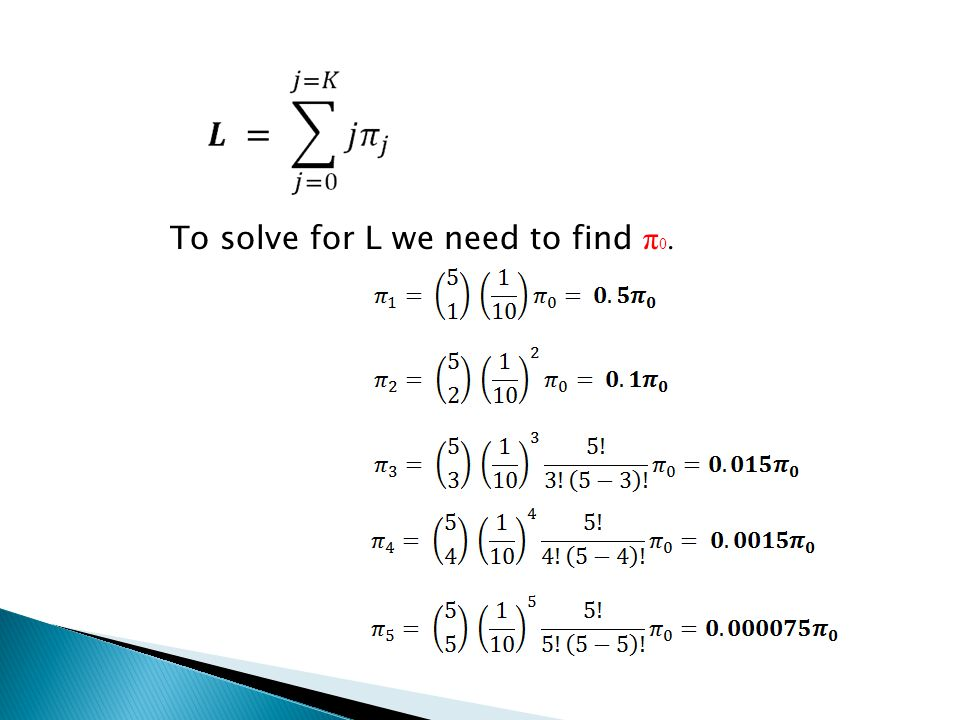 To solve for L we need to find π0.