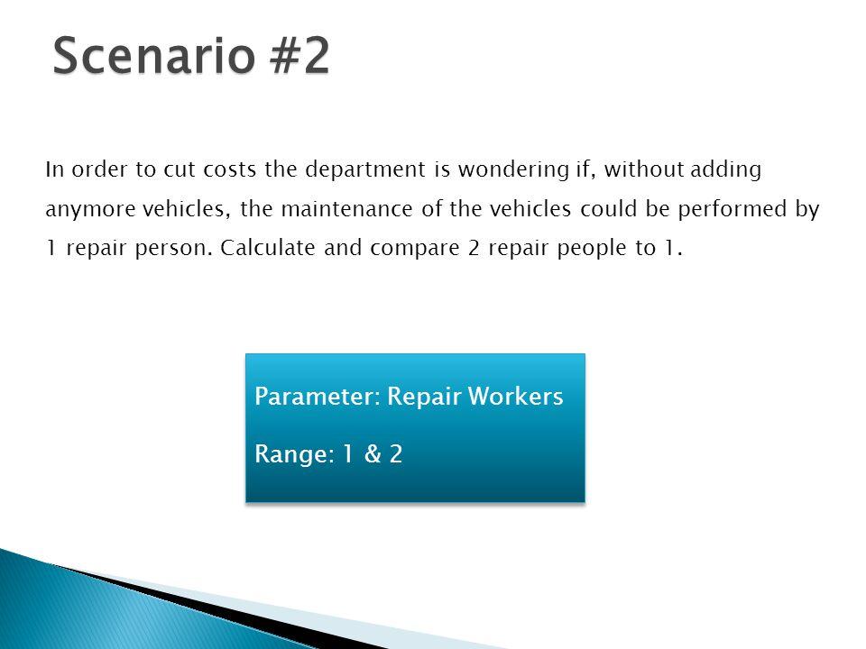 Scenario #2 Parameter: Repair Workers Range: 1 & 2