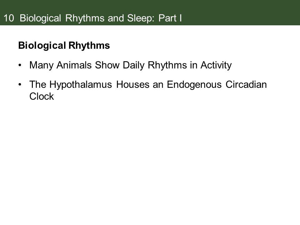 10 Biological Rhythms and Sleep: Part I
