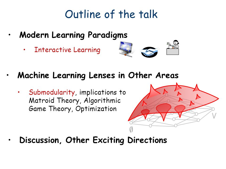 Outline of the talk Modern Learning Paradigms