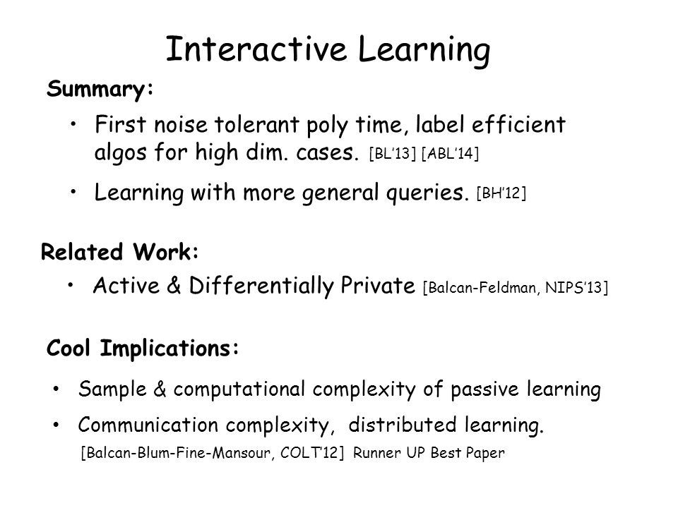 Interactive Learning Summary: