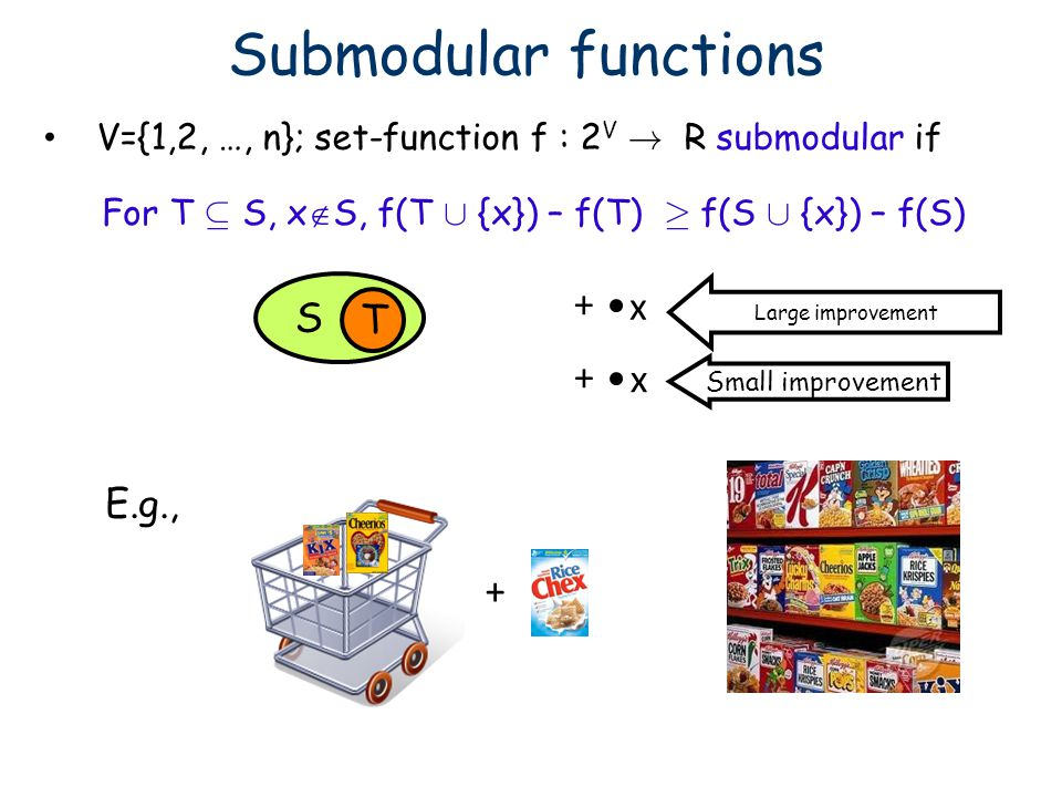 V={1,2, …, n}; set-function f : 2V ! R submodular if