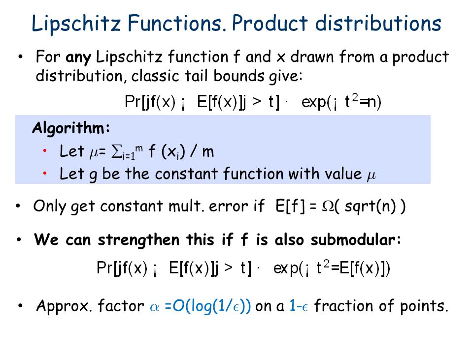 Lipschitz Functions. Product distributions