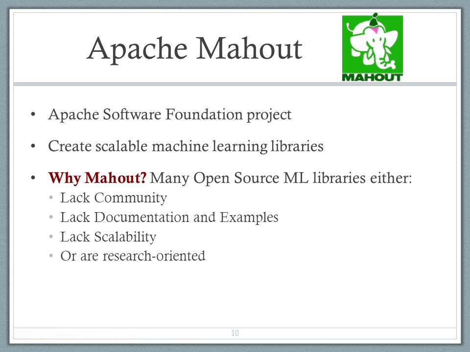 Apache Mahout Apache Software Foundation project
