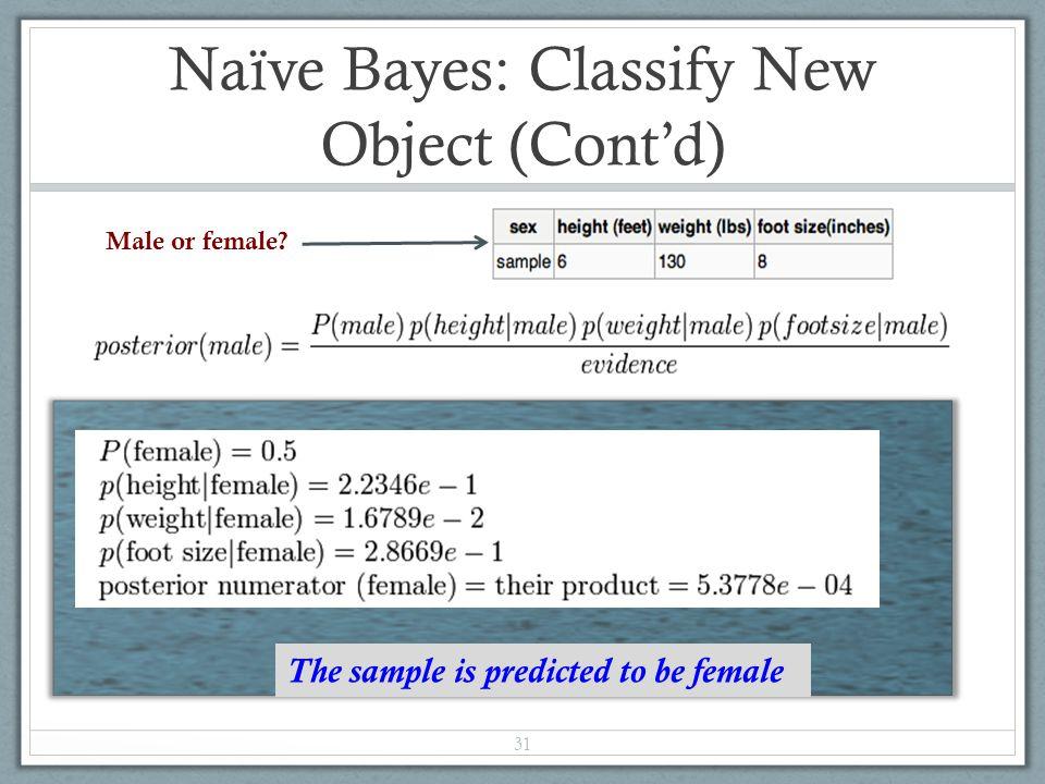 Naïve Bayes: Classify New Object (Cont'd)