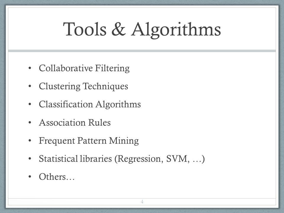 Tools & Algorithms Collaborative Filtering Clustering Techniques