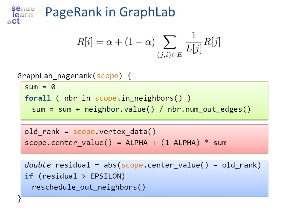 PageRank in GraphLab GraphLab_pagerank(scope) { sum = 0