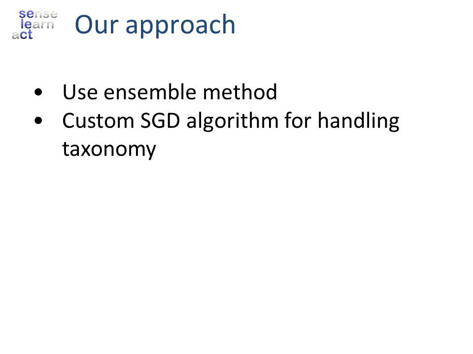 Our approach Use ensemble method