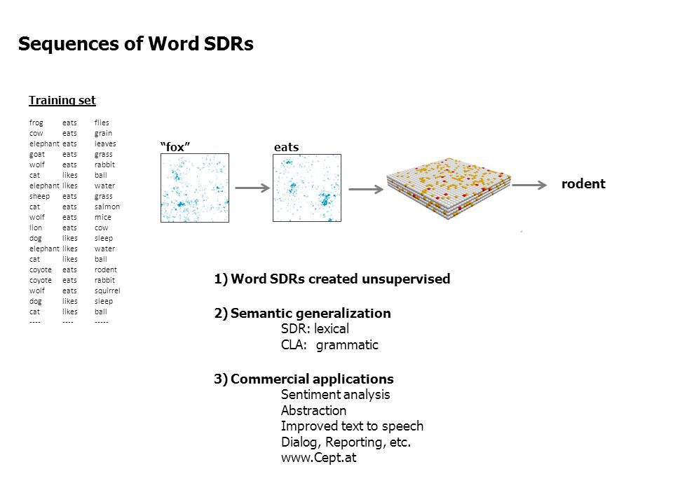 Sequences of Word SDRs rodent Word SDRs created unsupervised