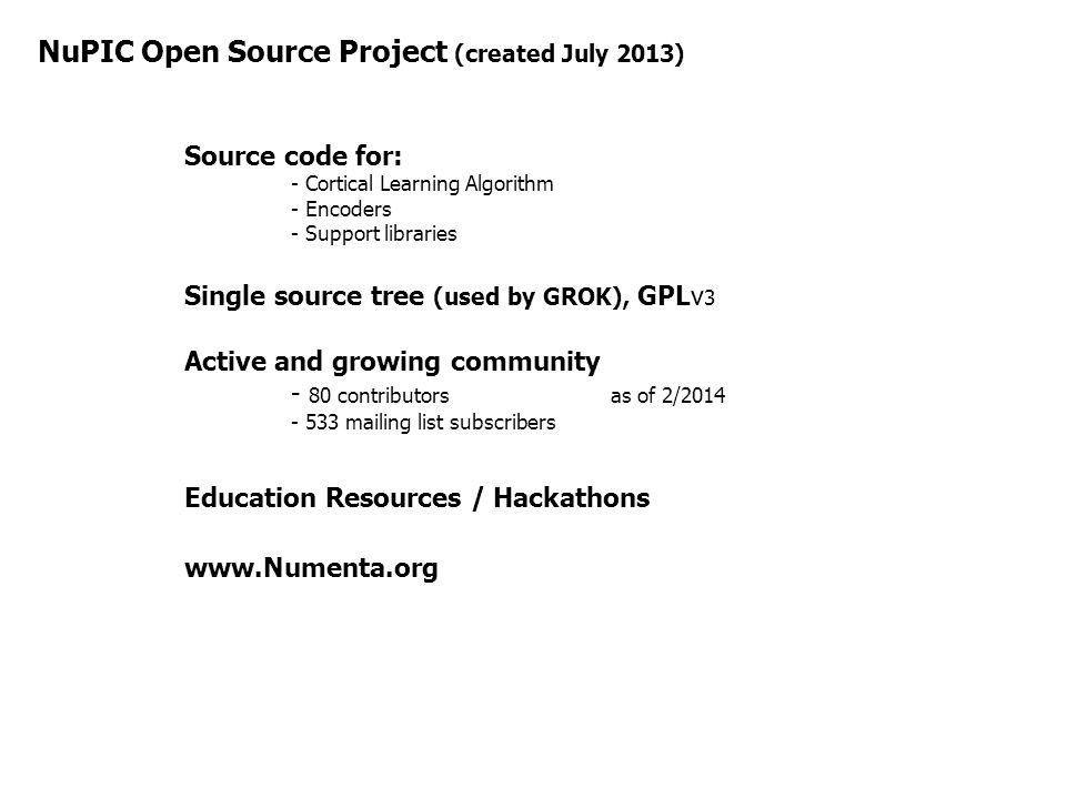 NuPIC Open Source Project (created July 2013)