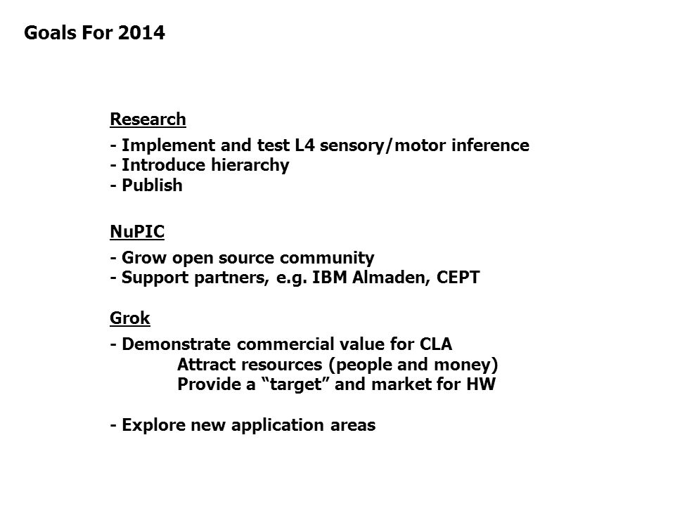 Goals For 2014 Research. - Implement and test L4 sensory/motor inference - Introduce hierarchy - Publish.