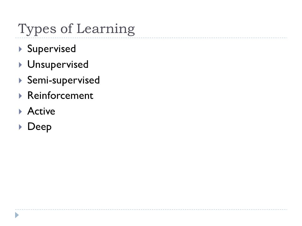 Types of Learning Supervised Unsupervised Semi-supervised