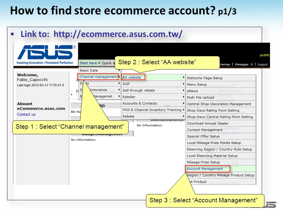 How to find store ecommerce account p1/3