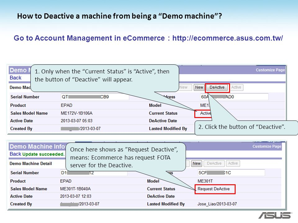 How to Deactive a machine from being a Demo machine
