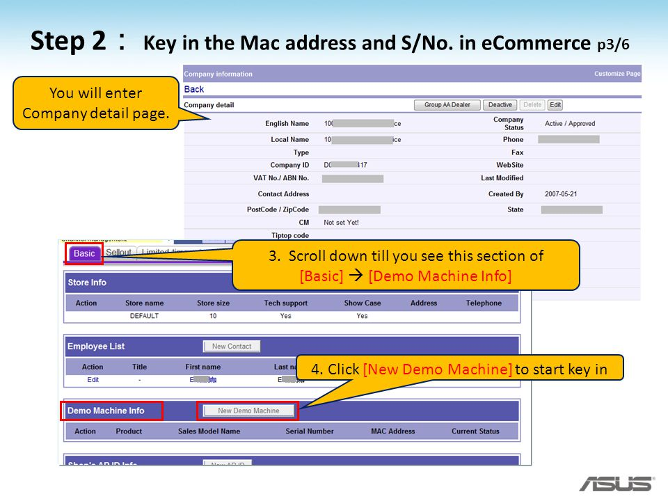 Step 2: Key in the Mac address and S/No. in eCommerce p3/6