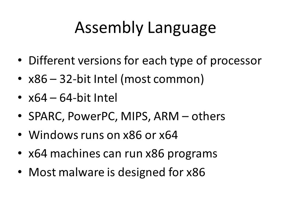 Assembly Language Different versions for each type of processor