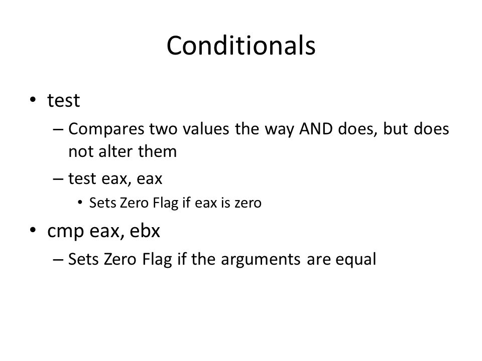 Conditionals test cmp eax, ebx