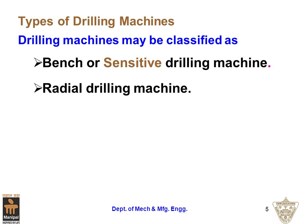 Types of Drilling Machines