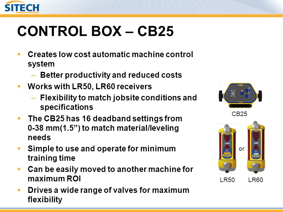 CONTROL BOX – CB25 Creates low cost automatic machine control system