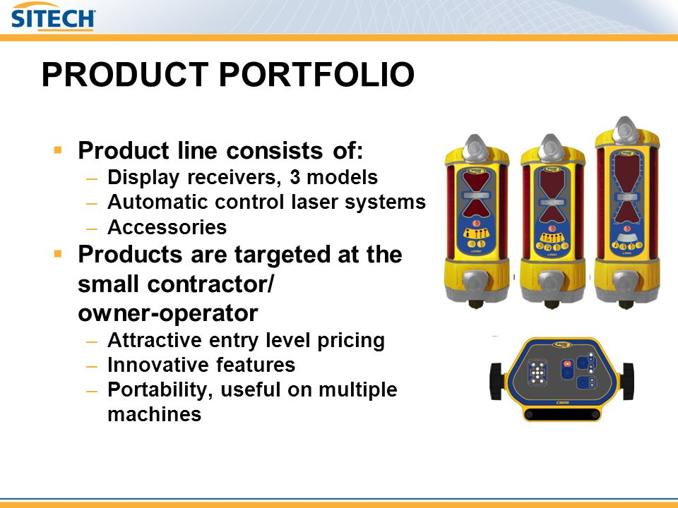 PRODUCT PORTFOLIO Product line consists of: