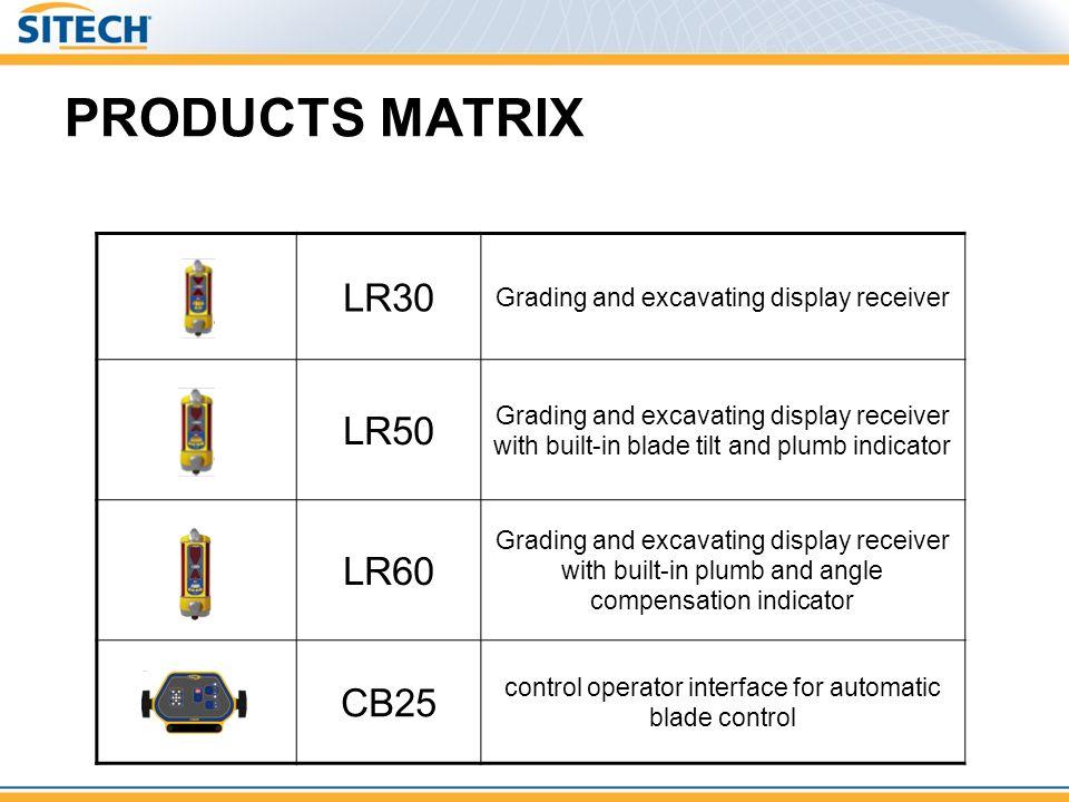 PRODUCTS MATRIX LR30 LR50 LR60 CB25