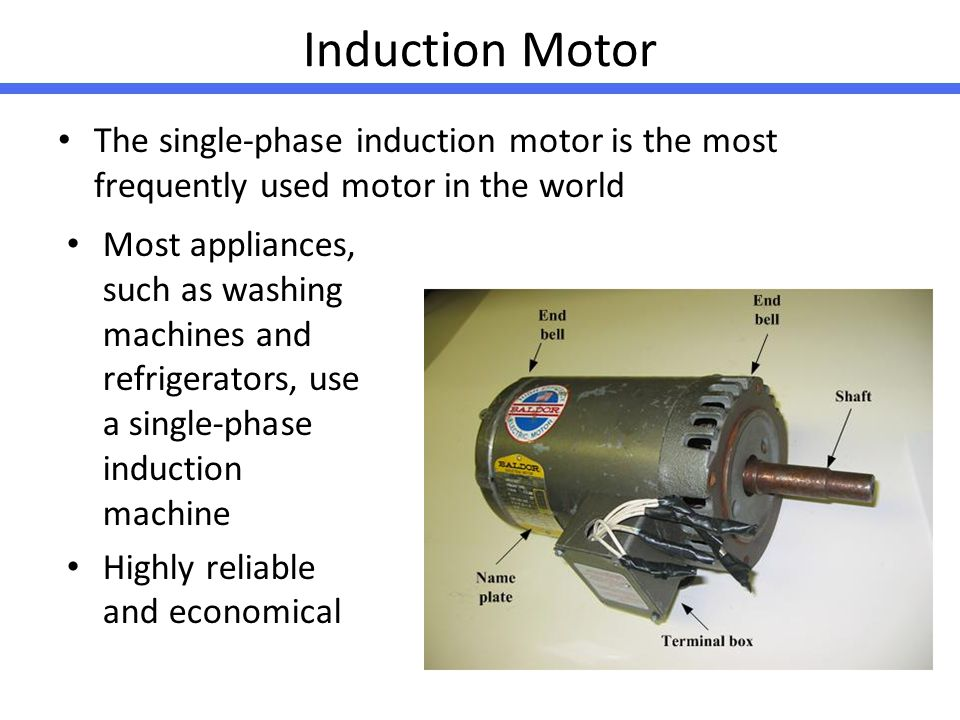 Induction Motor The single-phase induction motor is the most frequently used motor in the world.