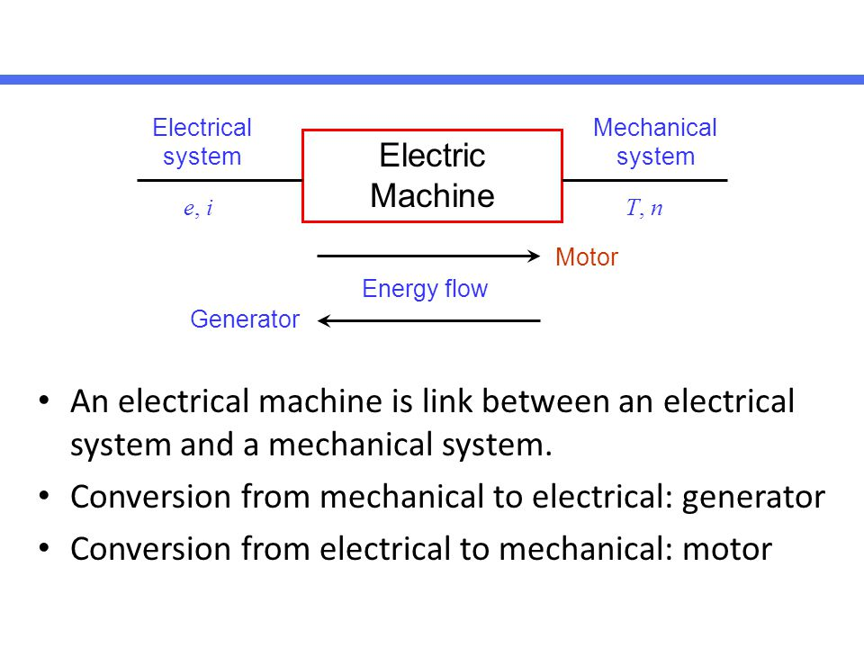 Conversion from mechanical to electrical: generator