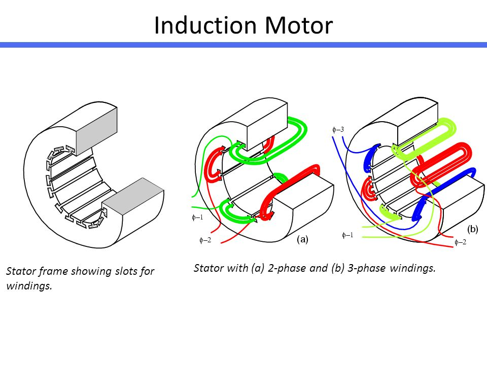 Induction Motor Stator with (a) 2-phase and (b) 3-phase windings.