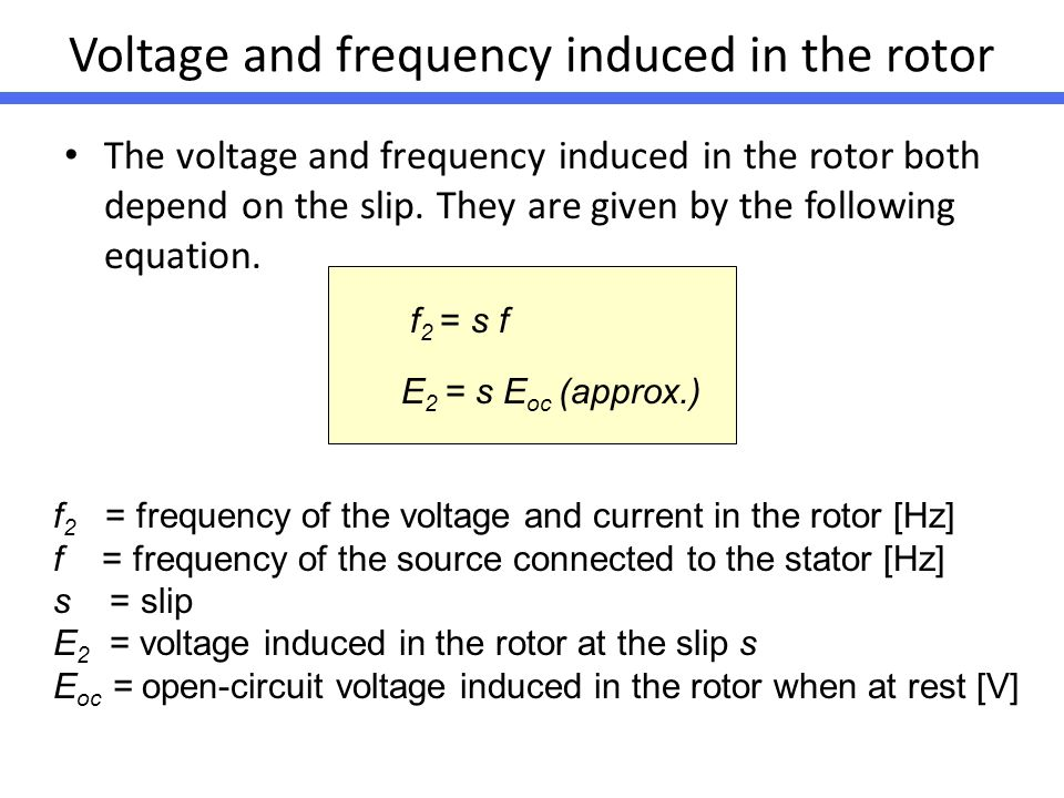 Voltage and frequency induced in the rotor