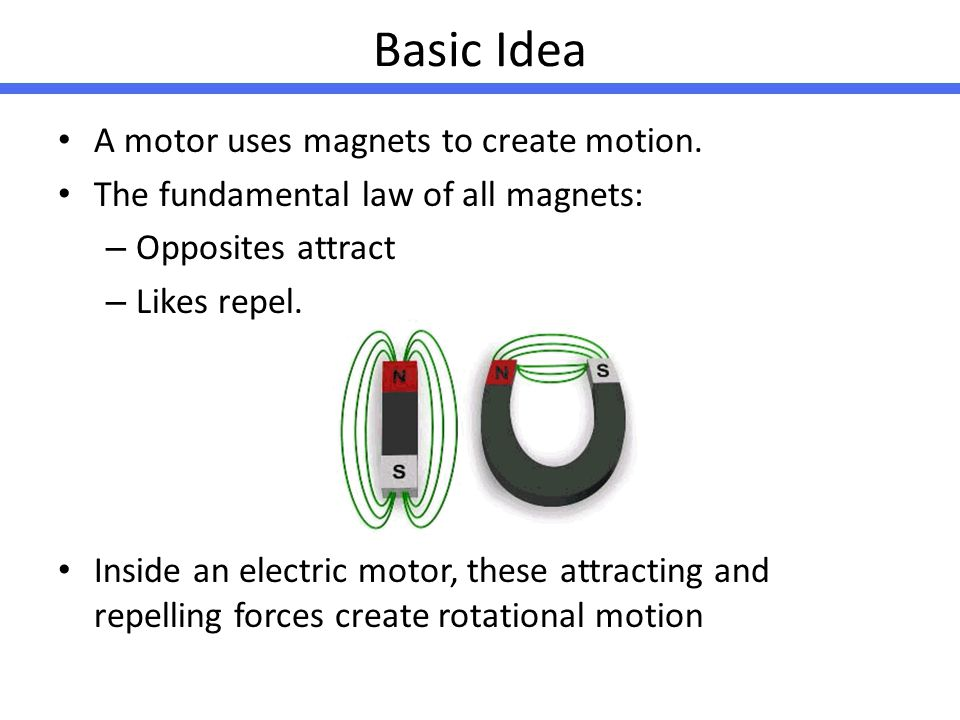 Basic Idea A motor uses magnets to create motion.
