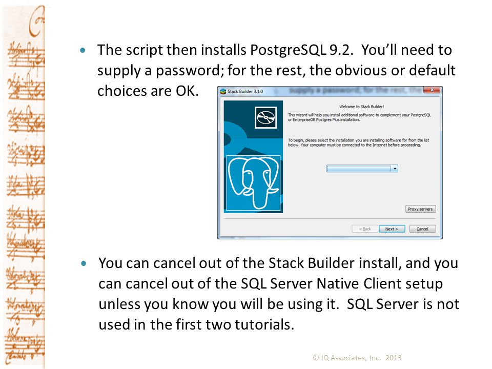 The script then installs PostgreSQL 9. 2