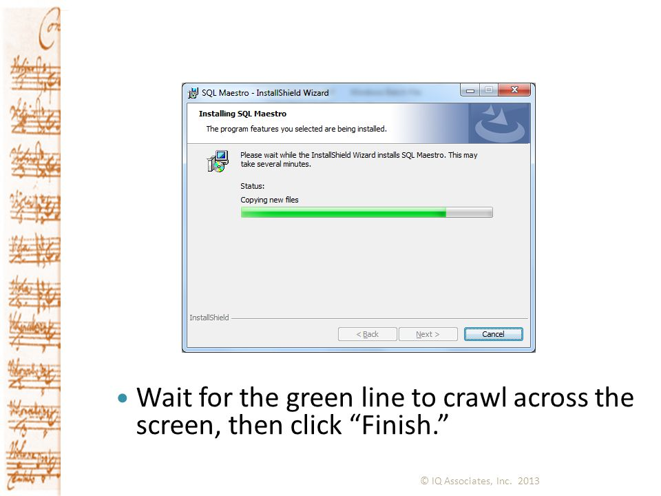 Wait for the green line to crawl across the screen, then click Finish