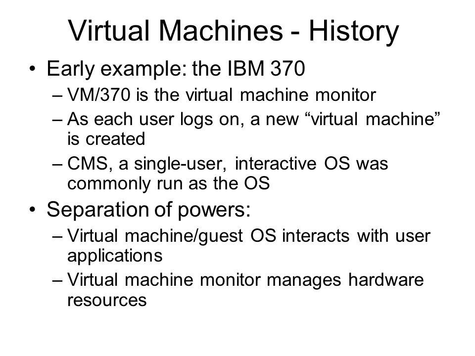 Virtual Machines - History