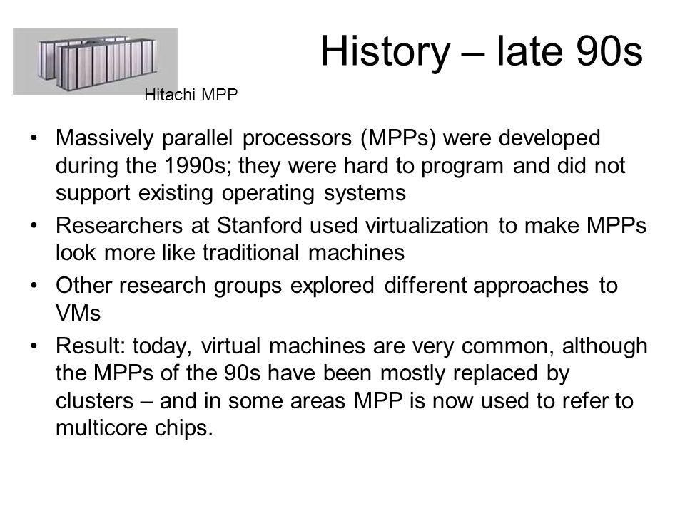History – late 90s Hitachi MPP.