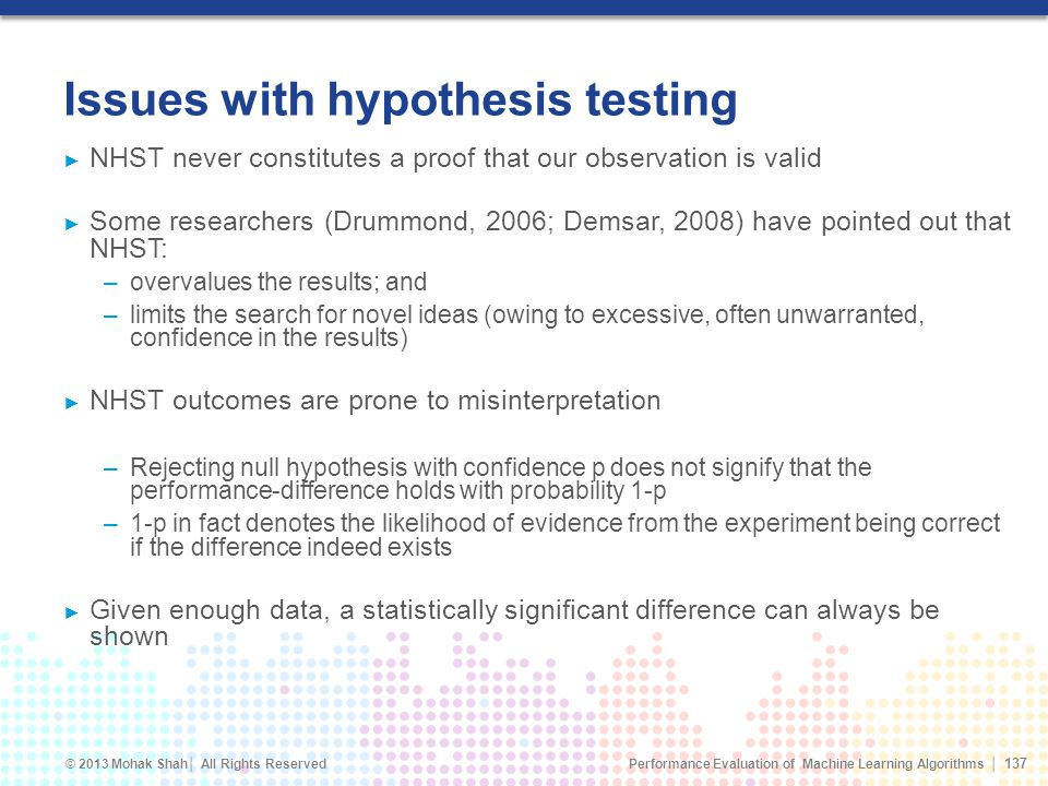 Issues with hypothesis testing