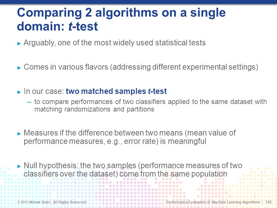 Comparing 2 algorithms on a single domain: t-test