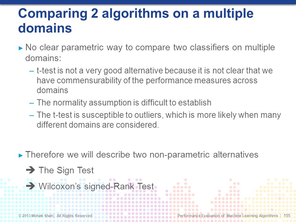 Comparing 2 algorithms on a multiple domains