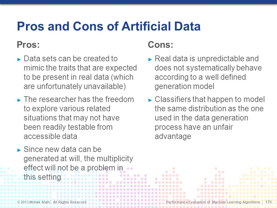 Pros and Cons of Artificial Data
