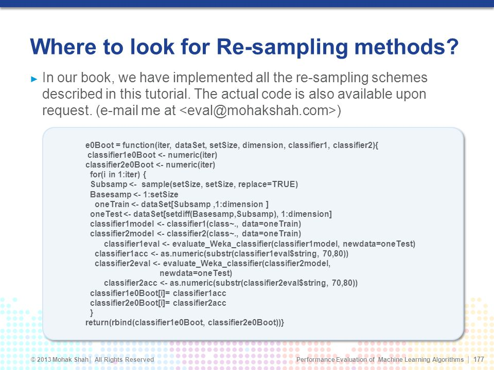 Where to look for Re-sampling methods
