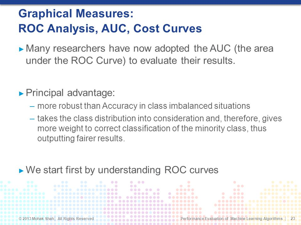 Graphical Measures: ROC Analysis, AUC, Cost Curves